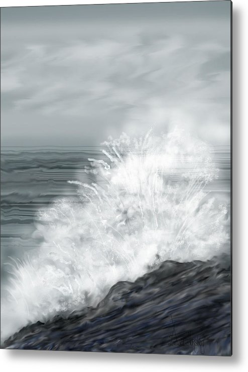 Seascape Metal Print featuring the painting Waves Crashing The Rocks In Ireland by Anne Norskog