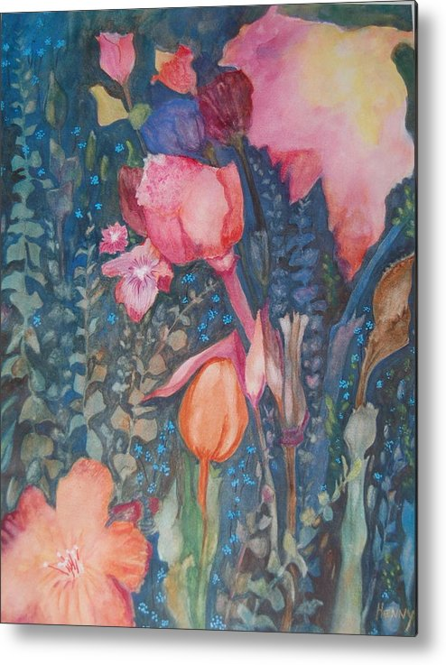 Flower Abstract Metal Print featuring the painting Wild Flowers In The Wind II by Henny Dagenais