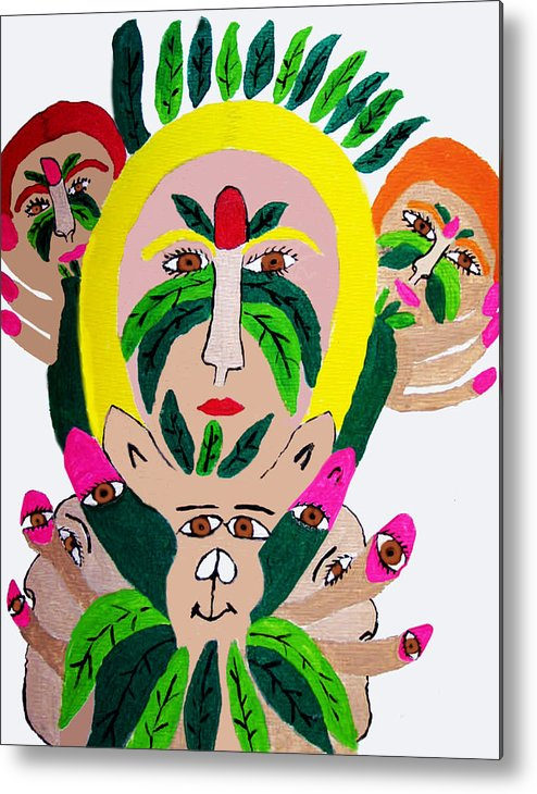 Metal Print featuring the painting Wild Look Of The Green Plant Lady by Betty Roberts