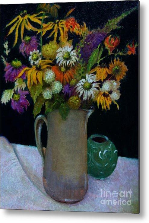Greeting Card Metal Print featuring the painting Wildflowers In Black              Copyrighted by Kathleen Hoekstra