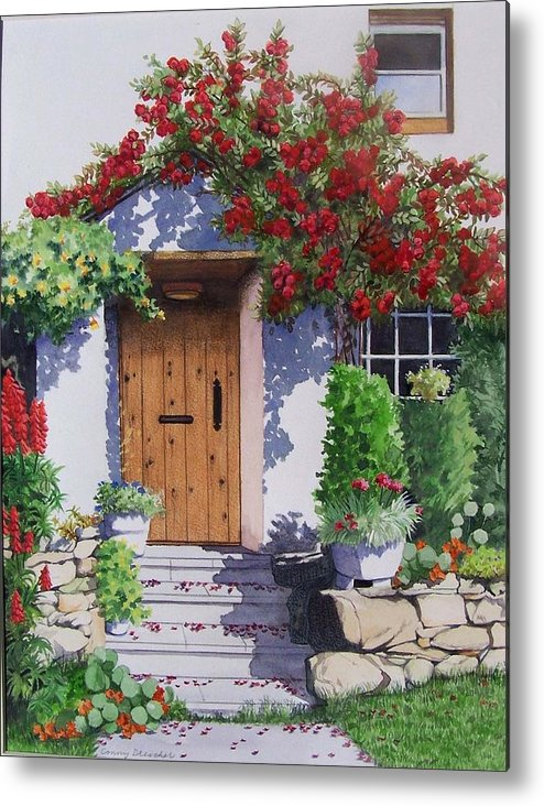 Roses Metal Print featuring the painting Wiltshire Cottage by Constance Drescher