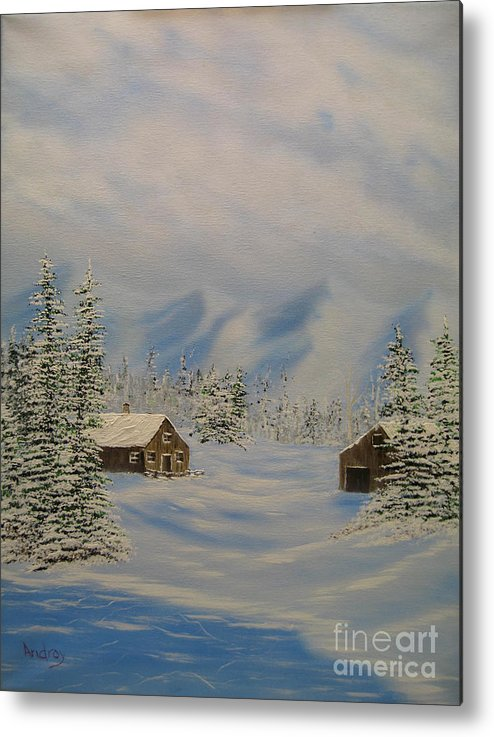 Mountains Metal Print featuring the painting Winters Beauty by Todd Androy