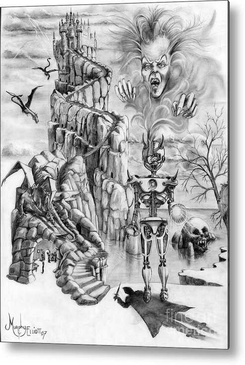 Witch Metal Print featuring the drawing Witch Hunter by Murphy Elliott