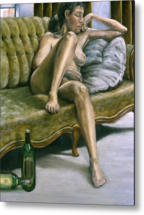 Female Metal Print featuring the painting Woman On Green Sofa by John Clum