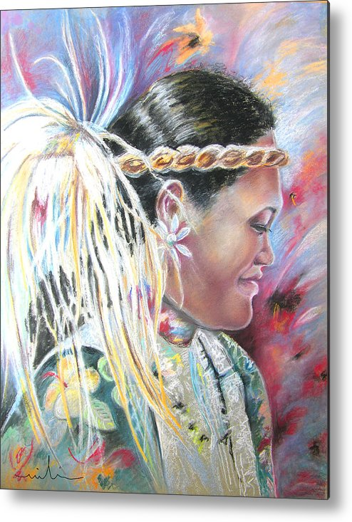 French Polynesia Metal Print featuring the painting Young Polynesian Mama by Miki De Goodaboom