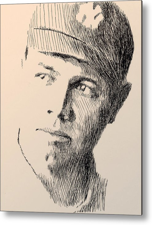 Pen Metal Print featuring the drawing Young Sultan Of Swat by Robbi Musser