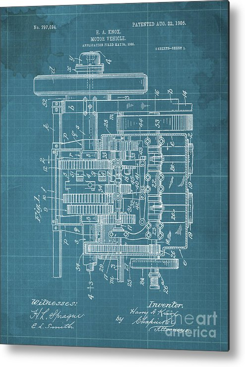 Metal Print featuring the drawing Motor Vehicle Patent Colored Vintage Art Print Year 1905 Blueprint by Drawspots Illustrations
