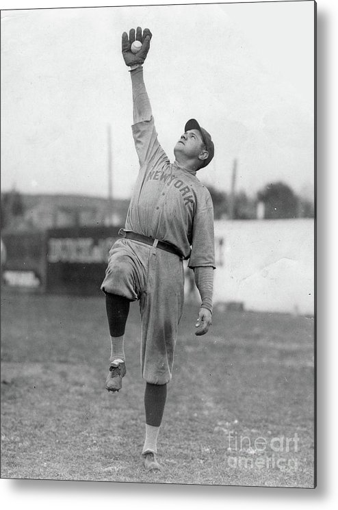 People Metal Print featuring the photograph Babe Ruth Catches Fly Ball by Transcendental Graphics