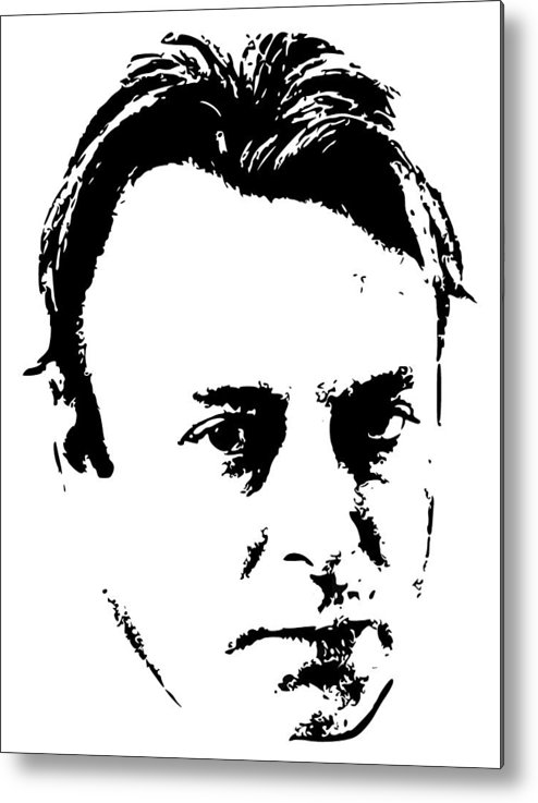 Christopher Hitchens Metal Print featuring the digital art Christopher Hitchens Minimalistic Pop Art by Filip Hellman