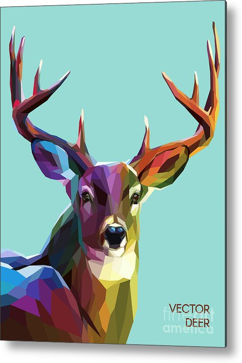 Symbol Metal Print featuring the digital art Colorful Deer Illustration. Background by Sovusha