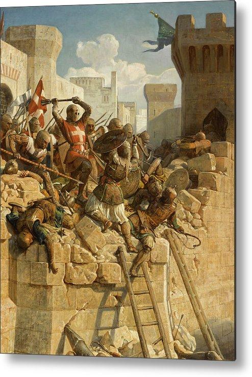 Papety Metal Print featuring the painting Guillaume De Clermont Defend La Ville D'acre, 1291 by Dominique Louis Fereol Papety