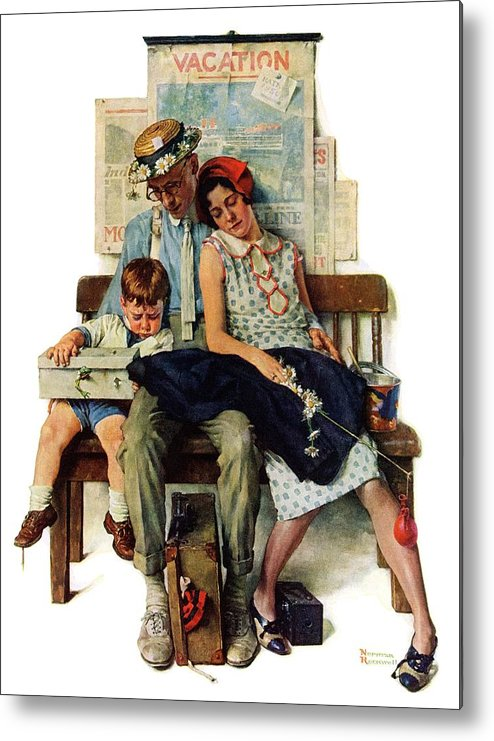 Families Metal Print featuring the drawing Home From Vacation by Norman Rockwell