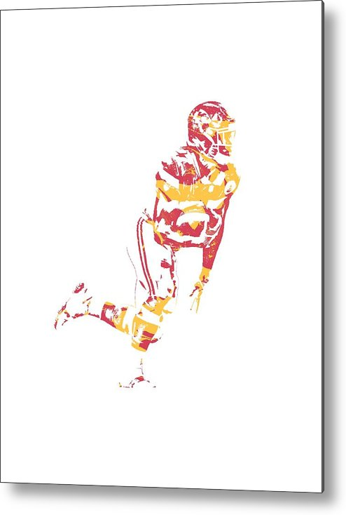 Kareem Hunt Chiefs Metal Print featuring the mixed media Kareem Hunt Kansas City Chiefs Apparel T Shirt Pixel Art 4 by Joe Hamilton