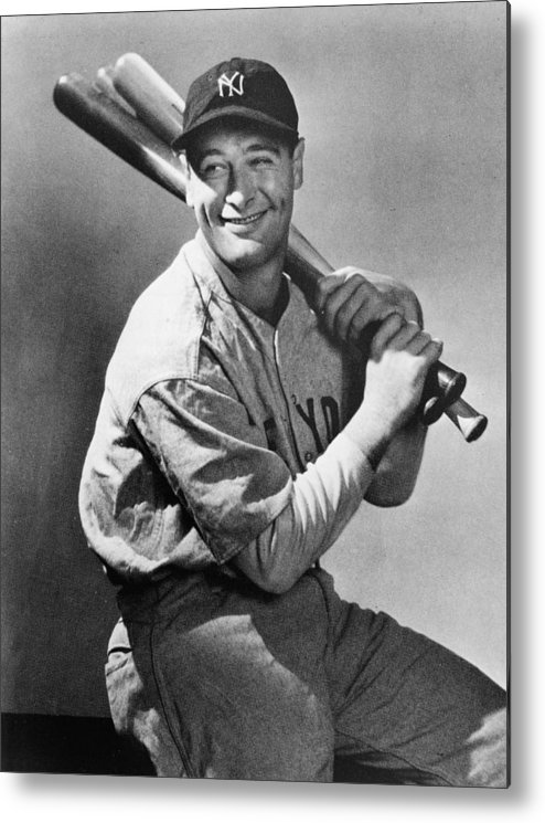 People Metal Print featuring the photograph Lou Gehrig Holding Three Baseball Bats by Pictorial Parade