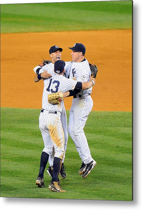 American League Baseball Metal Print featuring the photograph New York Yankees Alex Rodriguez, Derek by New York Daily News Archive