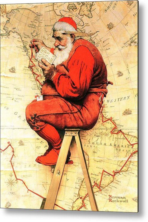 Christmas Metal Print featuring the drawing Santa At The Map by Norman Rockwell