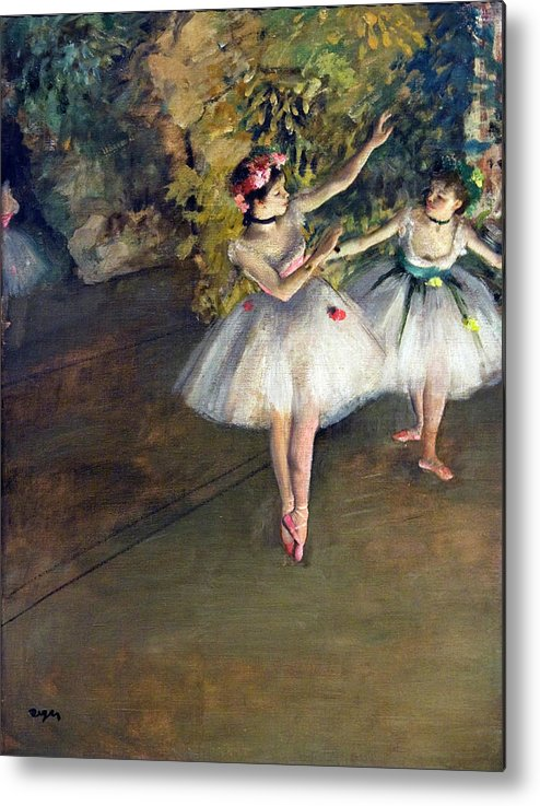 29bce6498ec4 Two Dancers On Stage By Edgar Degas Metal Print by Superstock