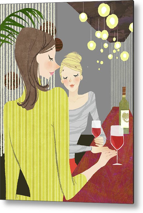 People Metal Print featuring the digital art Two Woman With Wine At Bar Counter by Eastnine Inc.