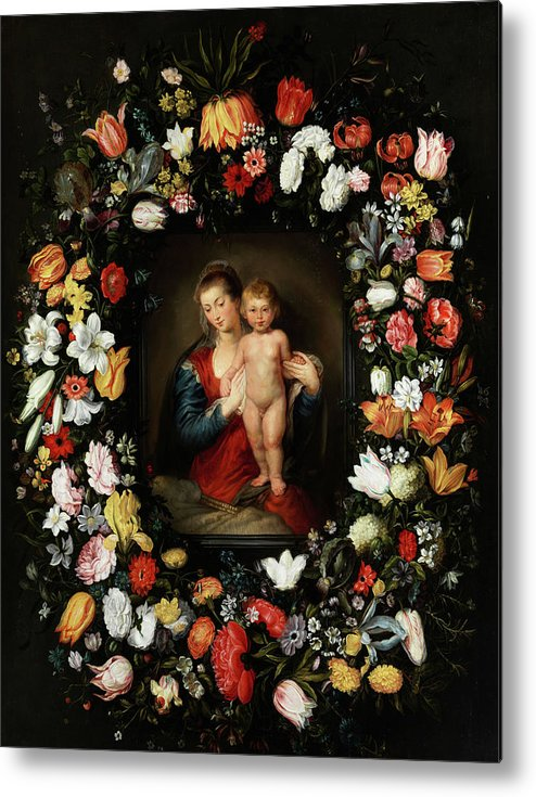 Jan Brueghel The Younger Metal Print featuring the painting Virgin And Child by Jan Brueghel the Younger