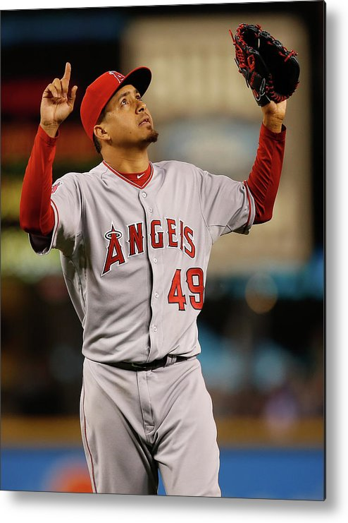 American League Baseball Metal Print featuring the photograph Ernesto Frieri by Otto Greule Jr