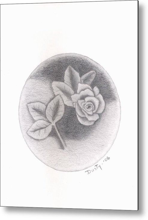 Rose Metal Print featuring the drawing Stone Rose by Dusty Reed