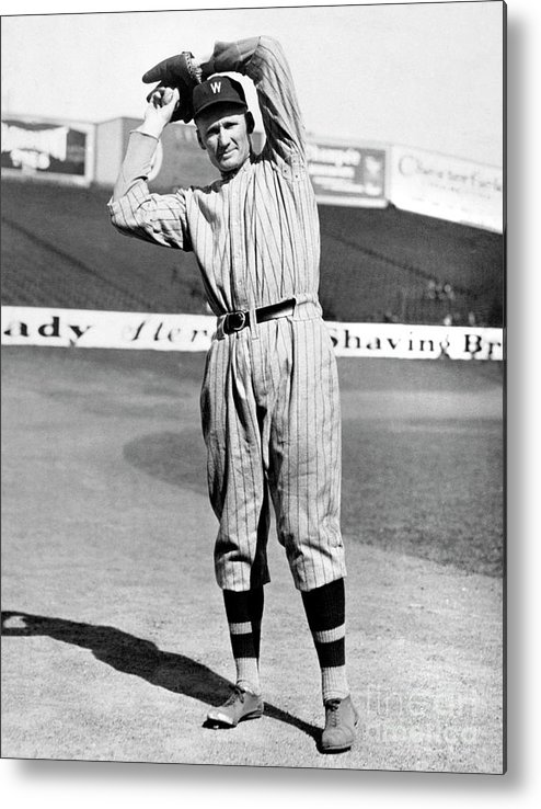 American League Baseball Metal Print featuring the photograph Walter Johnson by National Baseball Hall Of Fame Library