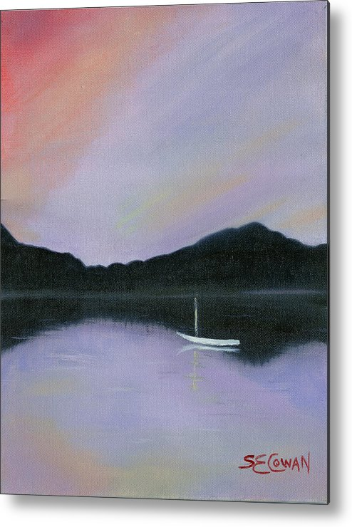 Landscape Metal Print featuring the painting All Is Still by SueEllen Cowan