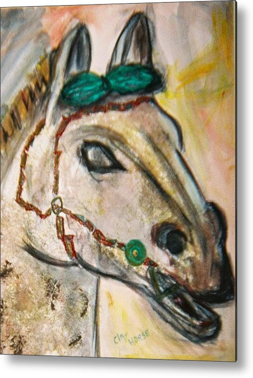 Horse Metal Print featuring the painting Clay Horse by JuneFelicia Bennett