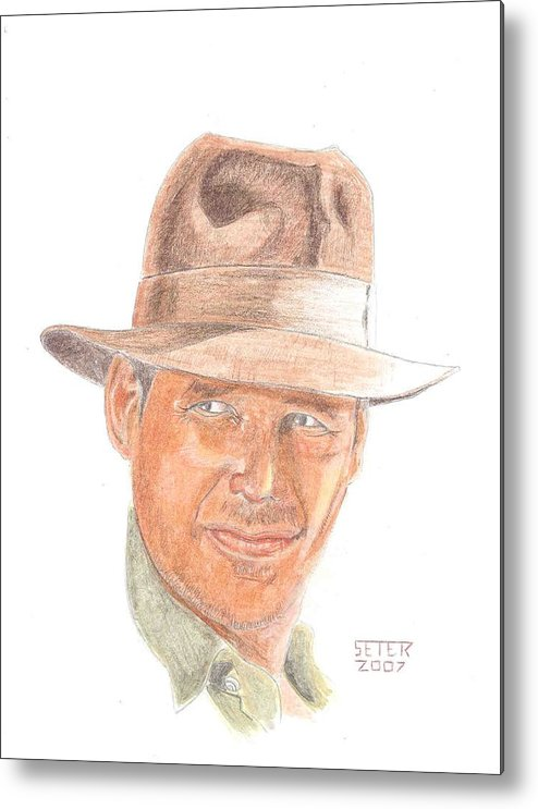 Indiana Jones Harrison Ford Metal Print featuring the mixed media Indy by David Seter
