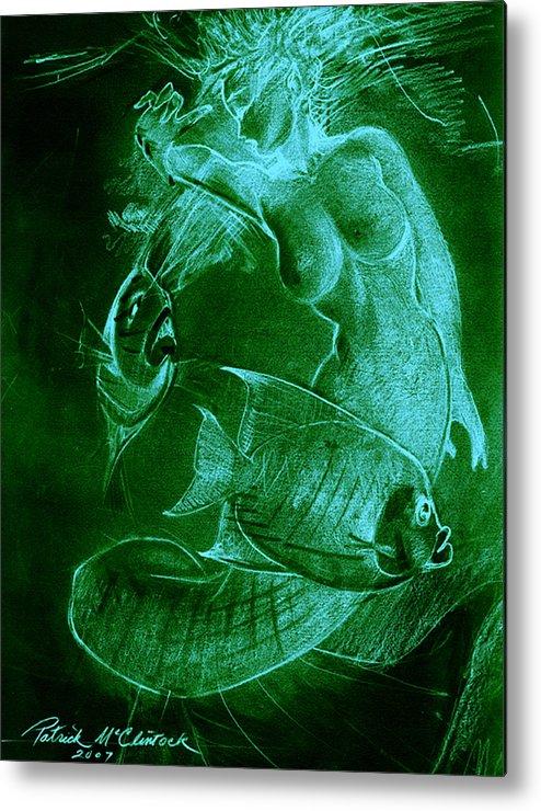 Mermaid Metal Print featuring the painting Mermaid And Fish by Patrick McClintock