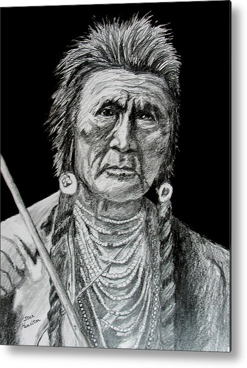 Portrait Metal Print featuring the drawing Unknown Indian V by Stan Hamilton