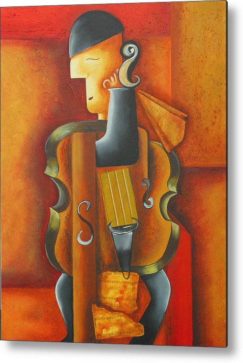 Abstract Expressionism Metal Print featuring the painting Violin Time by Marta Giraldo