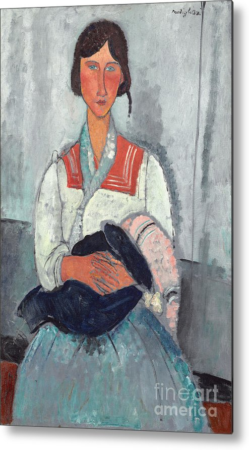 Sailor; Collar; Bobble; Hat; Scarf; Mother And Child; Portrait; Female Metal Print featuring the painting Gypsy Woman With Baby by Amedeo Modigliani