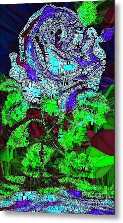 Blue Rose Metal Print featuring the painting Blue Rose In Glass by Saundra Myles