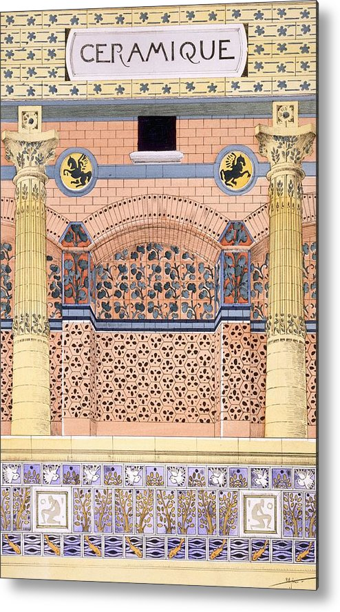 Motifs Metal Print featuring the drawing Ceramics Designs For Tiled Wall by Rene Binet