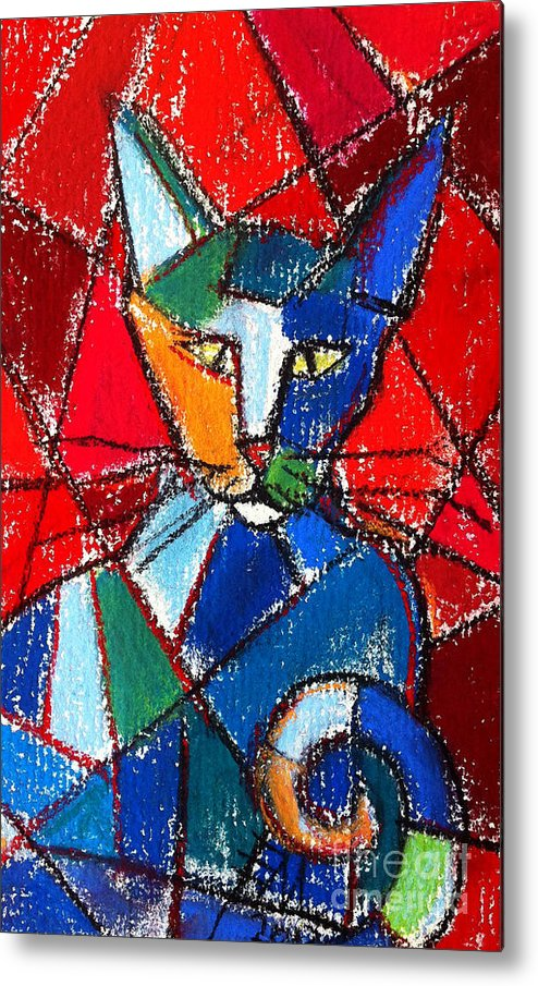 Cat Metal Print featuring the painting Cubist Colorful Cat by Mona Edulesco