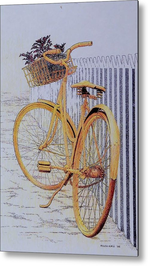Bicycle Yellow Summer Flowers Plants Metal Print featuring the painting Endless Summer by Tony Ruggiero