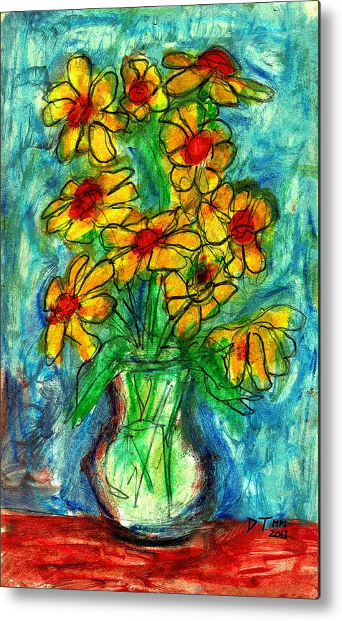 Flowers Metal Print featuring the drawing Garden Flower Mono-print by Don Thibodeaux