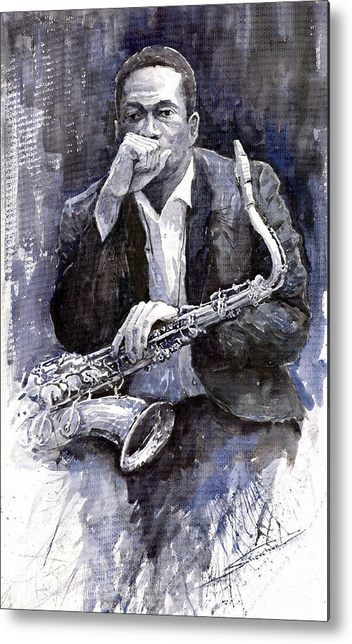 Jazz Metal Print featuring the painting Jazz Saxophonist John Coltrane Black by Yuriy Shevchuk