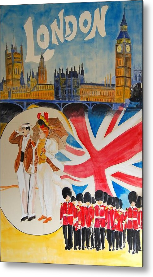 Vintage Poster Metal Print featuring the digital art London Vintage Poster by Cool Canvas