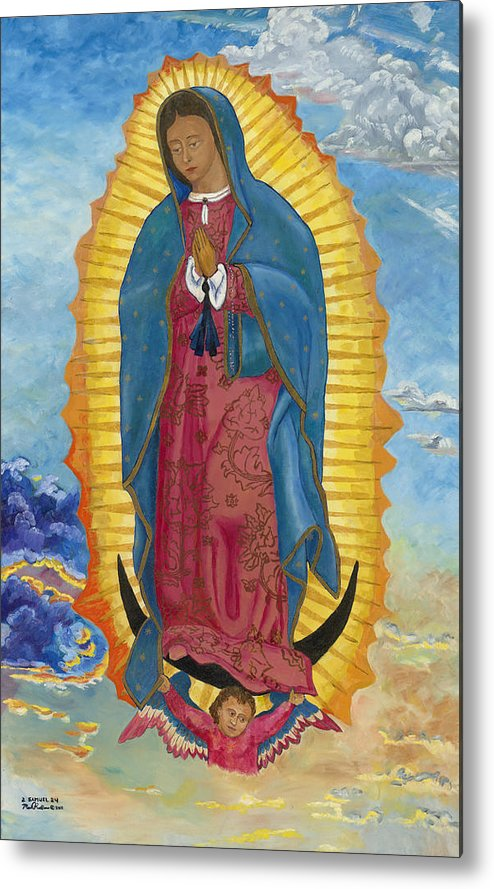 Our Lady Of Guadalupe Metal Print featuring the painting Our Lady Of Guadalupe-new Dawn by Mark Robbins