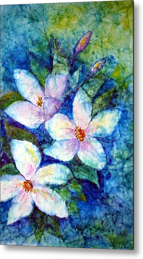 Floral Metal Print featuring the painting Ricepaper Blooms by Patricia Beebe