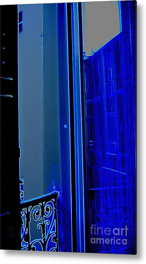 Blue Metal Print featuring the photograph Blue Window In Paris by Leela Arnet