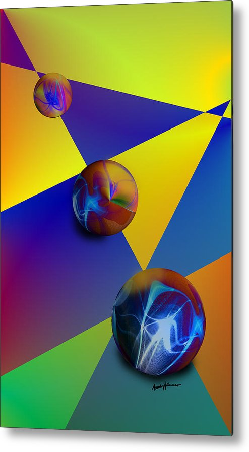 Abstract Metal Print featuring the digital art Bocce by Anthony Caruso
