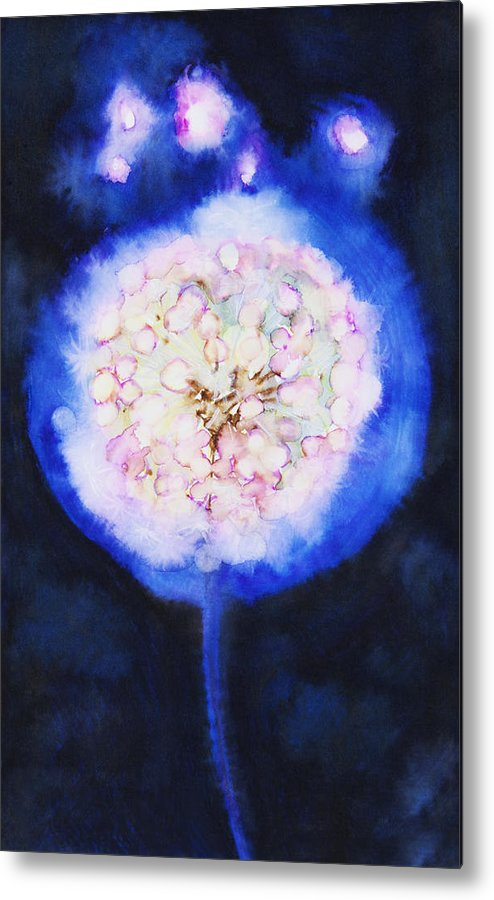 Abstract Metal Print featuring the painting Cosmic Bloom by Tara Thelen