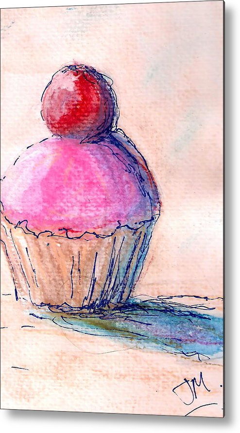 Cupcake Metal Print featuring the painting Cupcake by Jacqui Mckinnon
