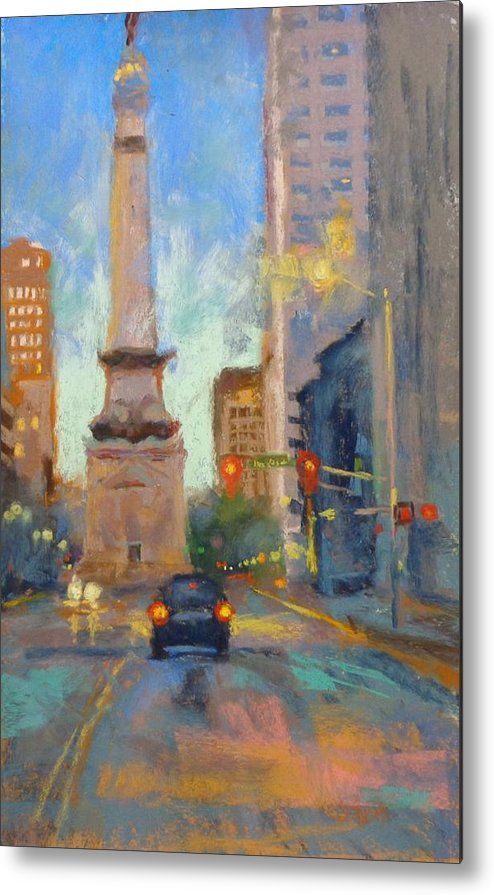 City Scape Metal Print featuring the painting Indy Monument At Twilight by Donna Shortt