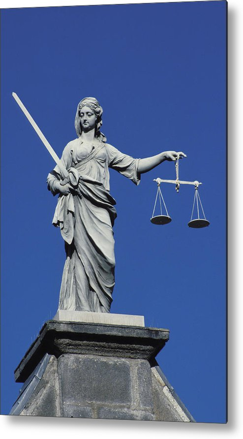 Woman Metal Print featuring the photograph The Scales Of Justice by Carl Purcell