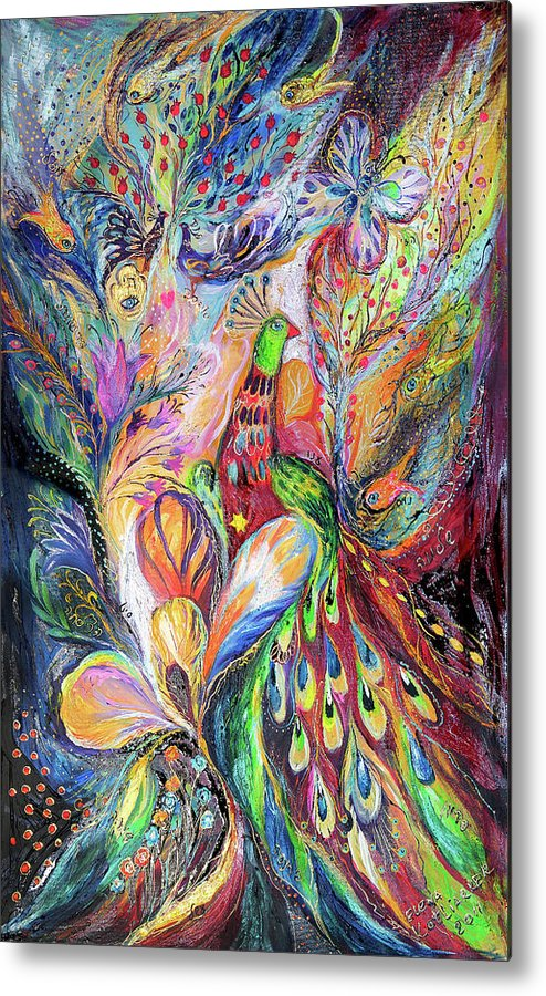 Original Metal Print featuring the painting The King Bird by Elena Kotliarker