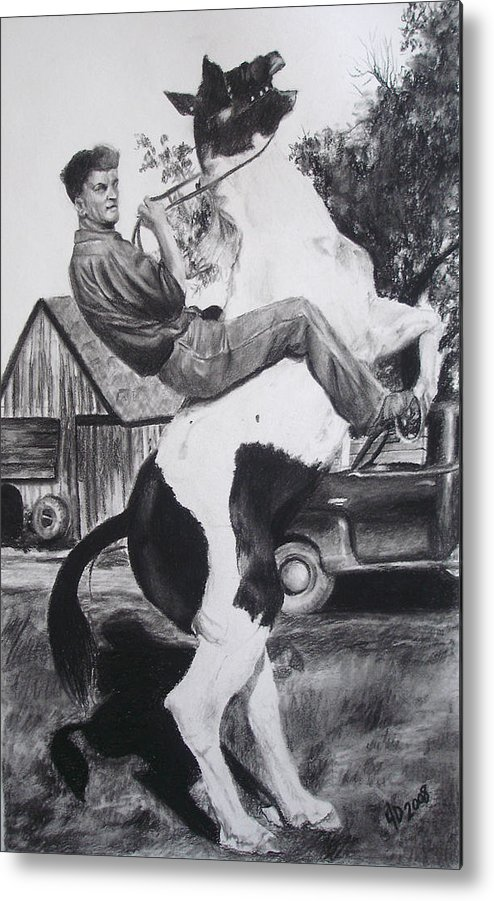 Horse Metal Print featuring the drawing Untitled by Darcie Duranceau